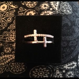 Double Cross Ring - CZ & 18k Rose Gold Plated - 8